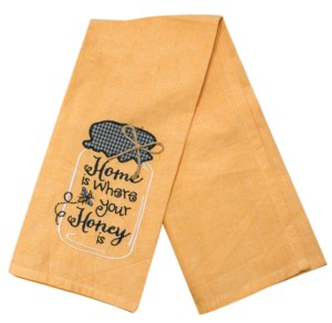 Honey Jar Embroidered Tea Towel