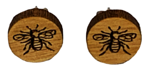 Wooden Bee Stud Earrings