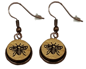 Wooden Bee Loop Earrings