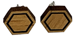Wooden Hexagon Stud Earrings